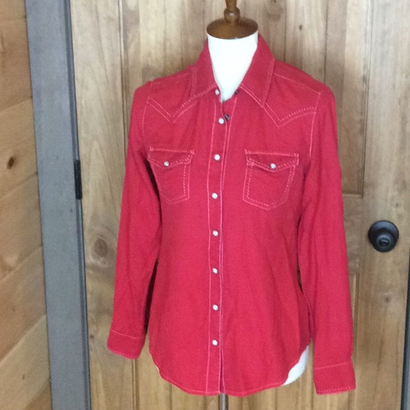 aa1bf20d Ryan Michael Tops | Red Silk Blend Western Shirt Small | Poshmark